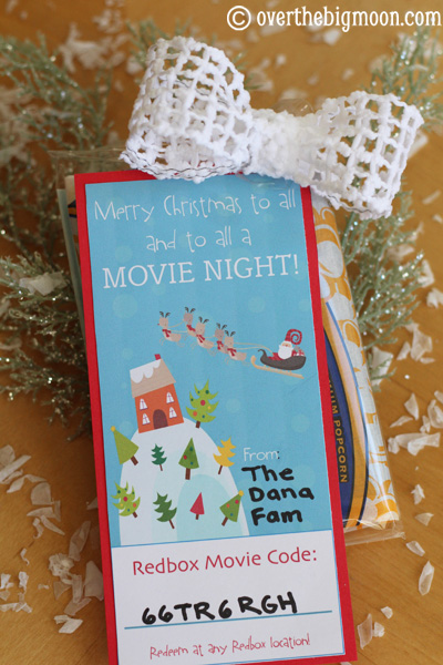 Movie night gift with redbox code and popcorn