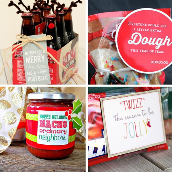 collage of easy Christmas neighbor gifts