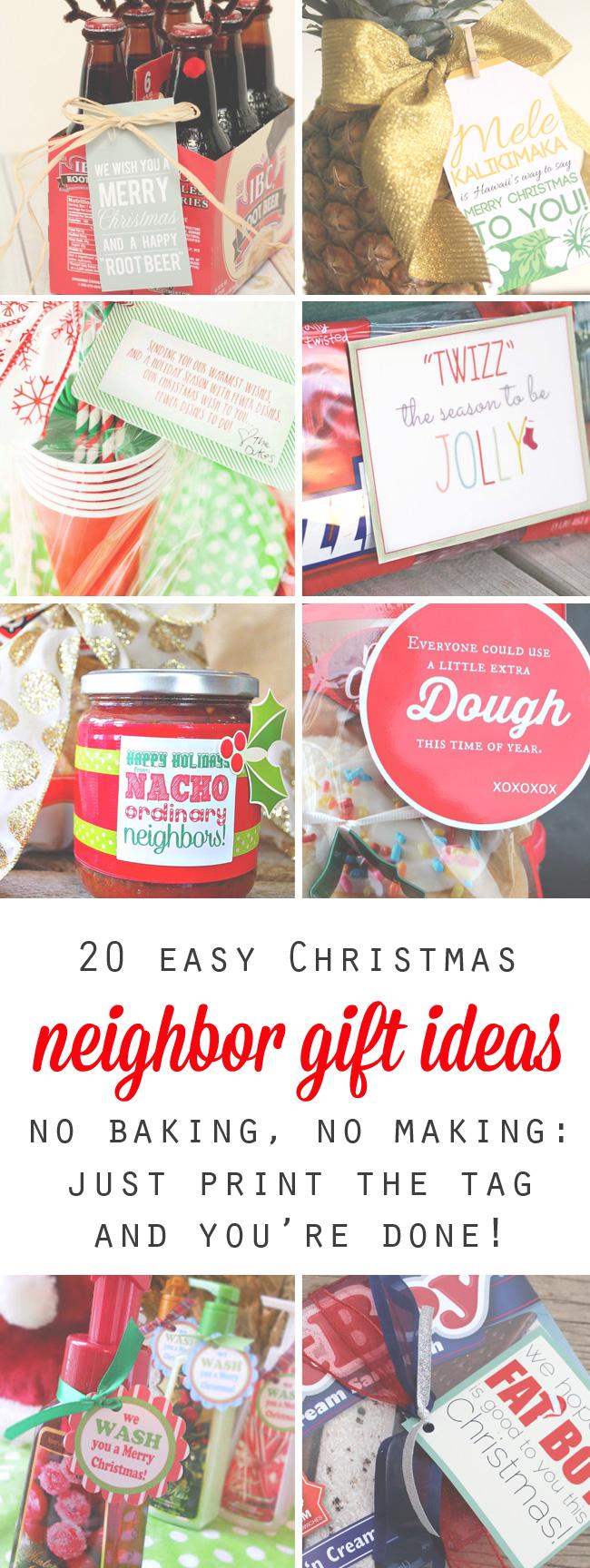 Collage of easy Christmas neighbor gift ideas