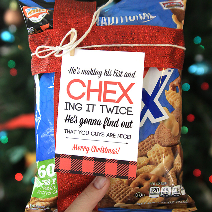 Package of Chex mix with ribbon and tag that says He\'s making his list and chex ing it twice