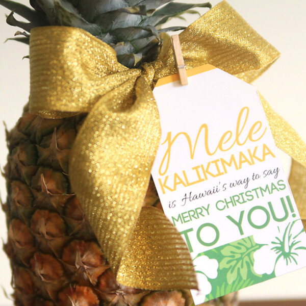 A pineapple with a Christmas gift tag on a table