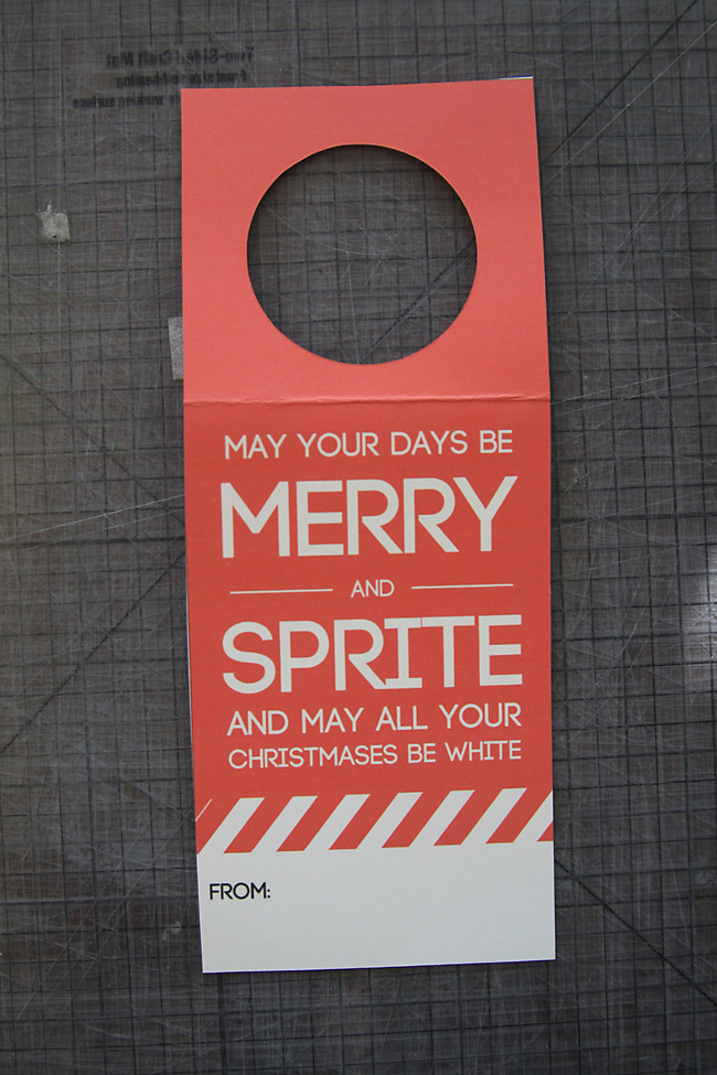 Sprite gift tag with circle cut out so it can go over a 2 liter bottle