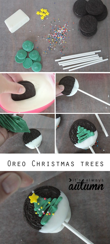 Steps to make Christmas tree Oreo pop