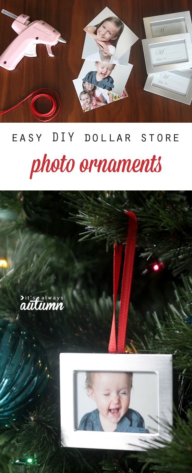 DIY photo ornaments hanging on a Christmas tree