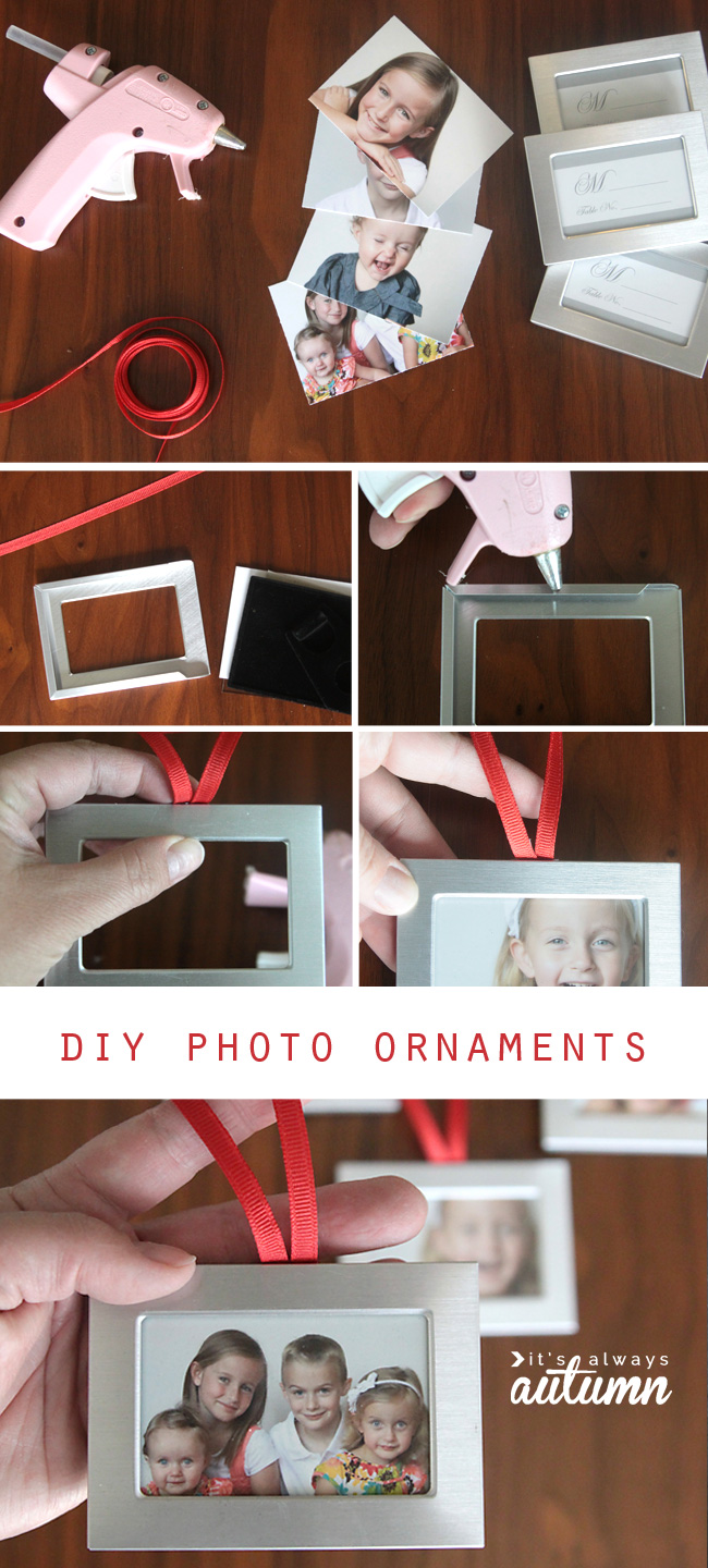 Gluing red ribbon loop to top of mini photo frame to hang on a Christmas tree