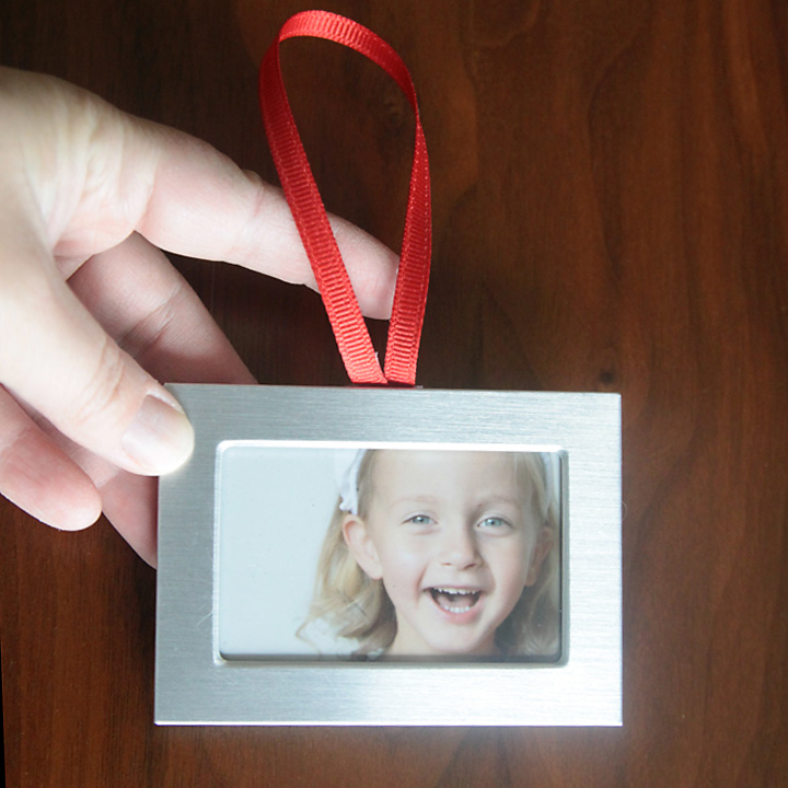 Small dollar store photo frame turned into Christmas ornament