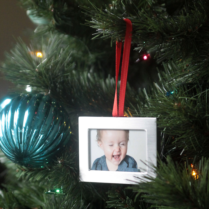 DIY photo Christmas ornament on a tree