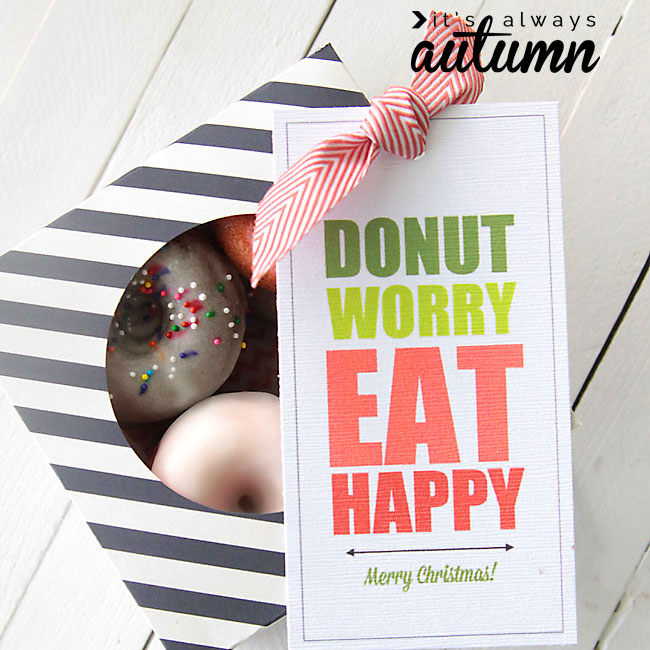 Donuts in a box with tag that says Donut worry Eat Happy