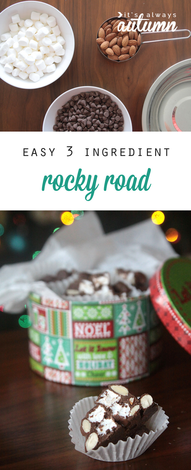 Marshmallows, almonds and chocolate; homemade rocky road candy in a Christmas candy tin