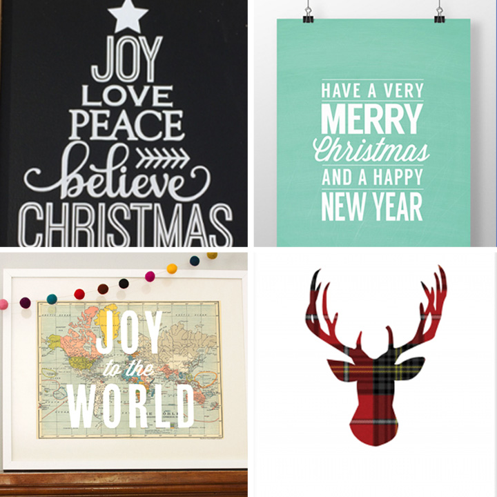 20 beautiful & modern free Christmas prints