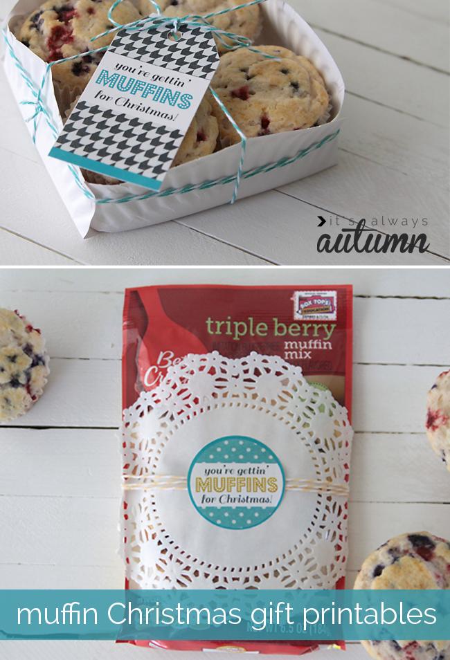 Muffin Christmas gift printable tags