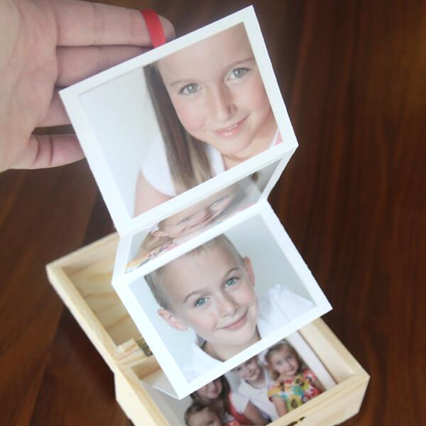 DIY accordian photo strip in a box