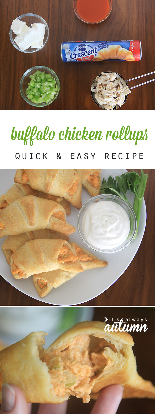 Buffalo chicken rollups on a plate with ranch; ingredients