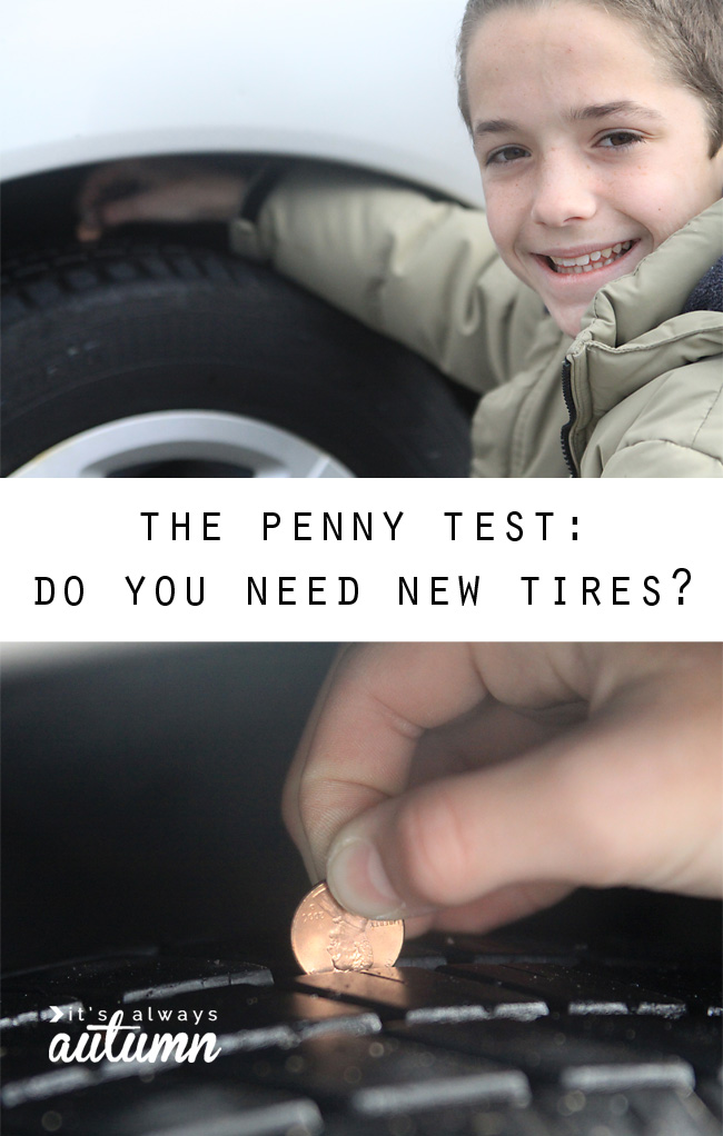 Boy placing a penny in between treads of tire to check if they need replacing