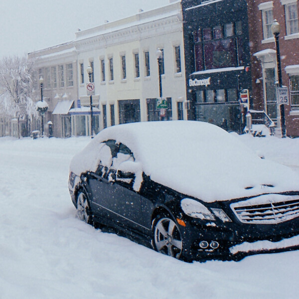 A car covered in snow
