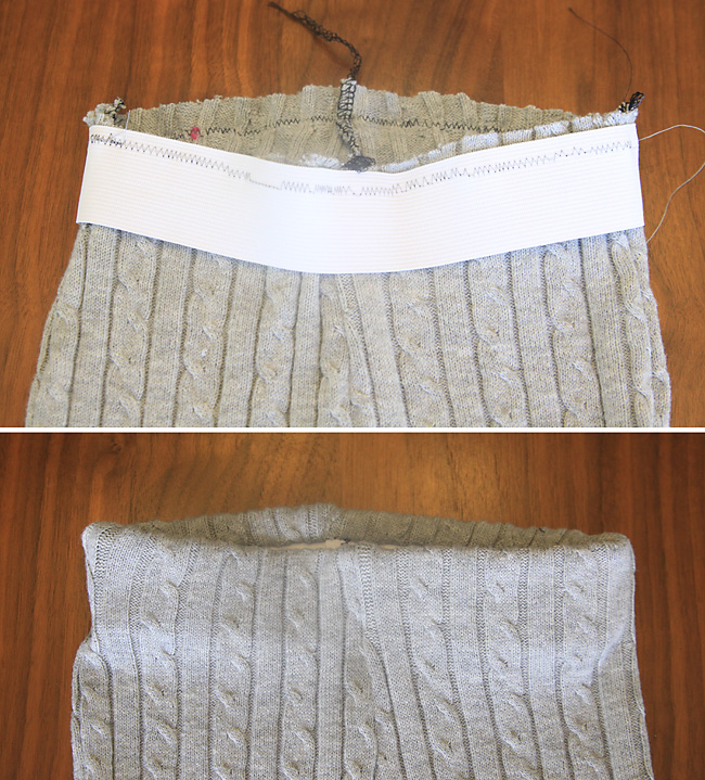 Leggings with elastic sewn in at the waist