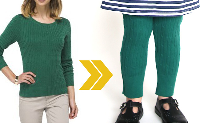 A woman wearing a sweater, then a girl wearing leggings made from the sweater