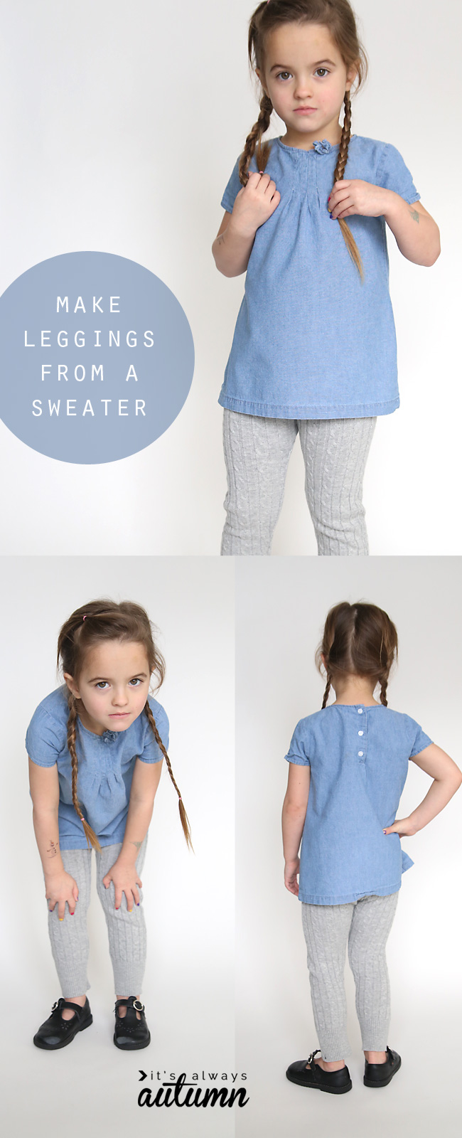 A little girl wearing grey leggings made from a sweater