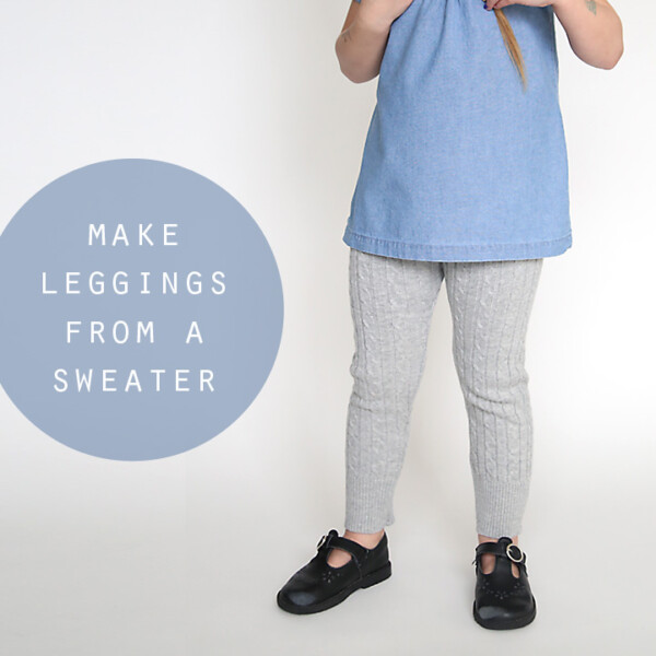 A girl wearing a blue chambray shirt and grey sweater leggings