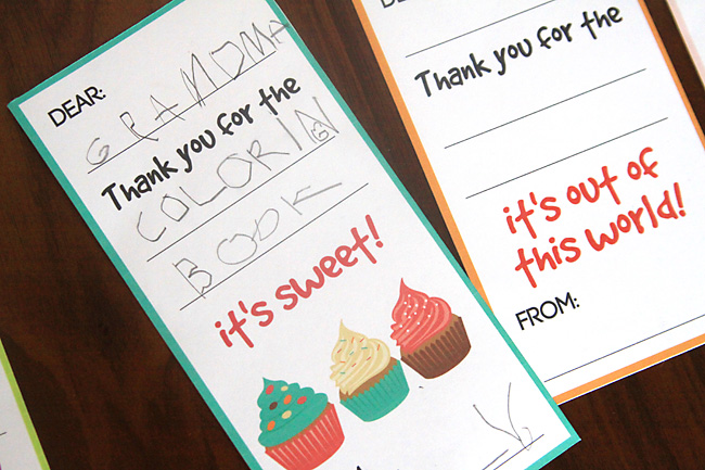 Printable fill in the blank thank you card for kids