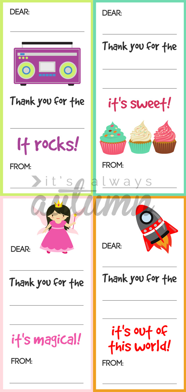Printable fill in the blank thank you notes for kids to use