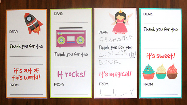 Thank you notes that have been printed and filled in by kids