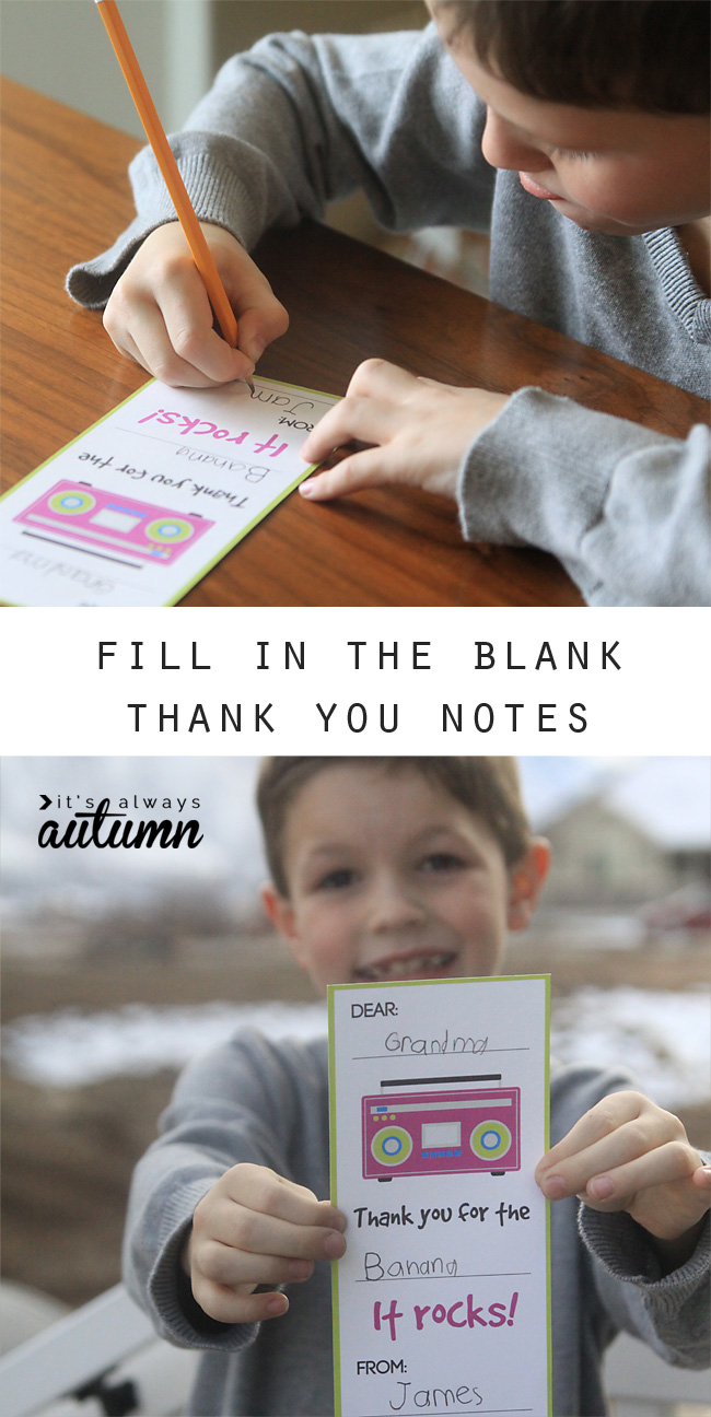 Little boy with fill in the blank thank you note