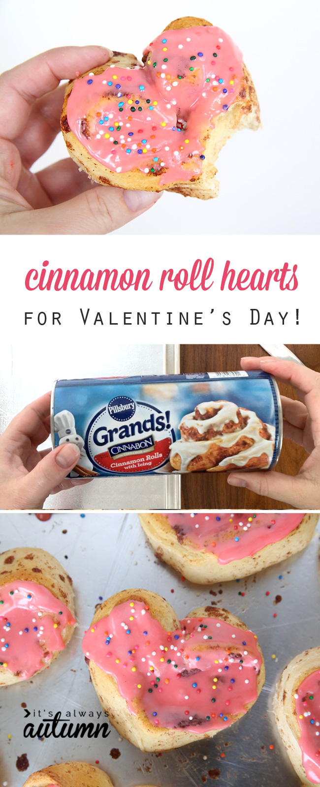 Cinnamon rolls in the shape of a heart with pink frosting and sprinkles; roll of Grands! cinnamon rolls