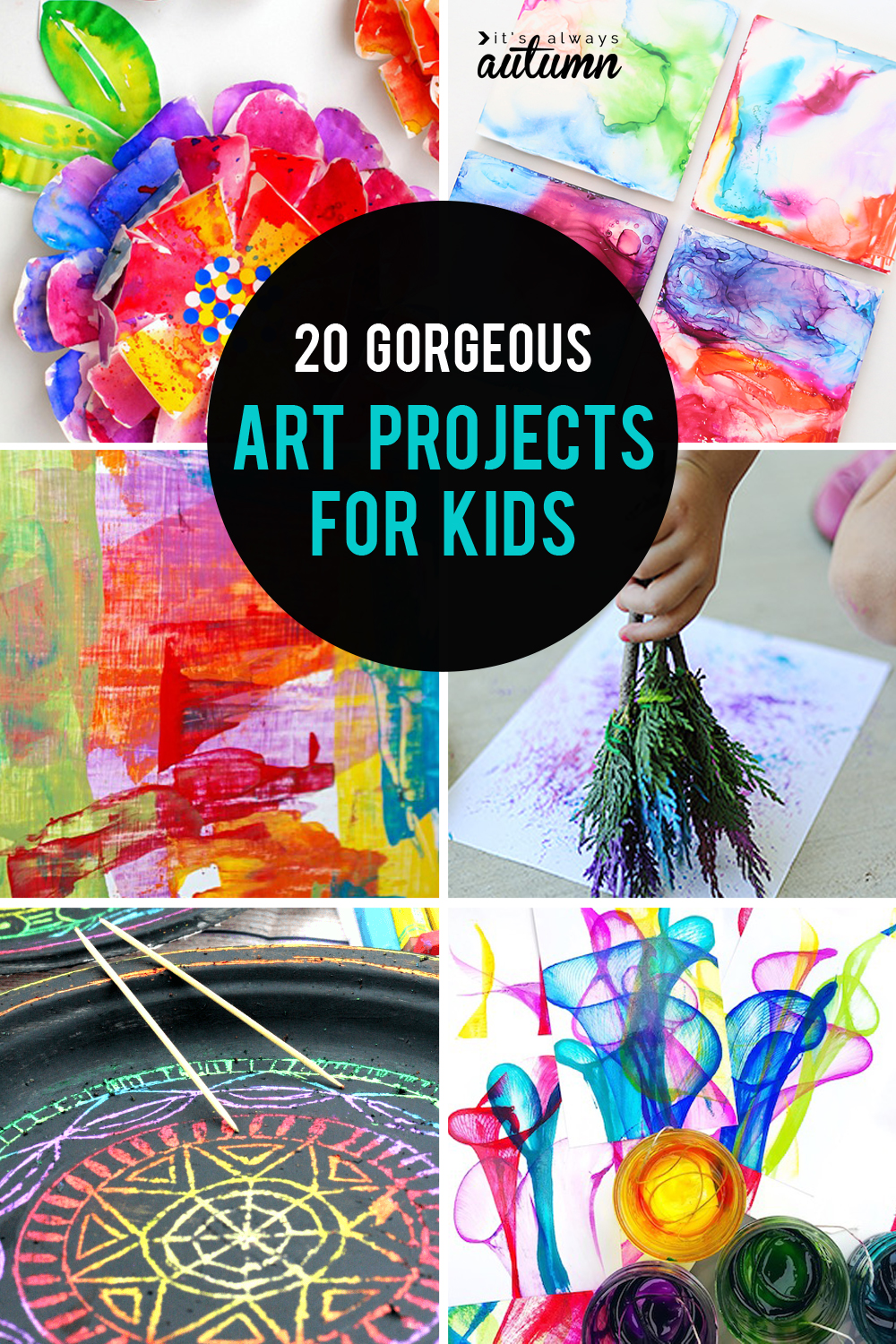 Collage of 20 gorgeous art projects for kids