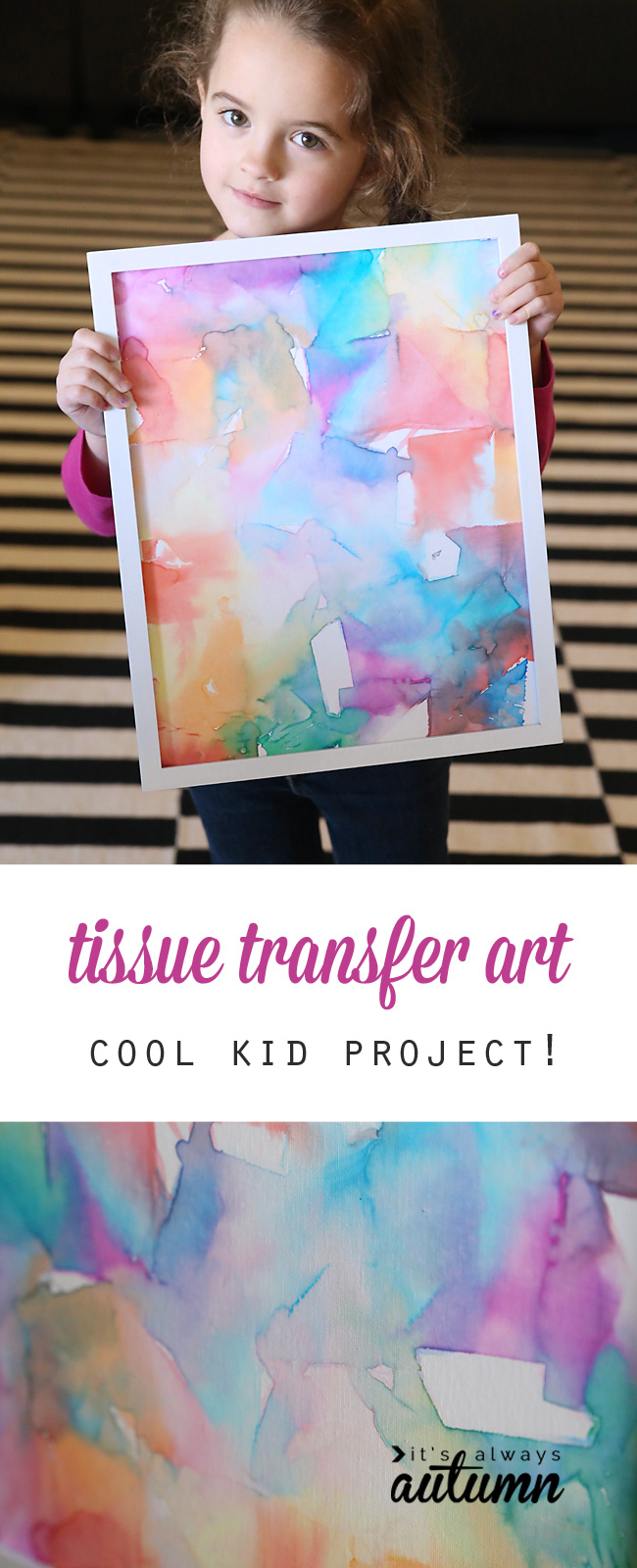 Tissue paper art is not only gorgeous, it's totally easy enough for kids to make! Fun kid's art project - perfect indoor activity for rainy days.