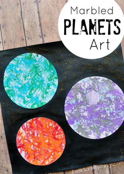 Marbled planets art project for kids