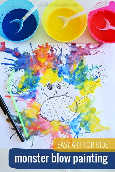 Monster drawing with colorful paint and a straw