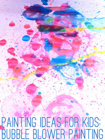 Bubble blowing painting for kids