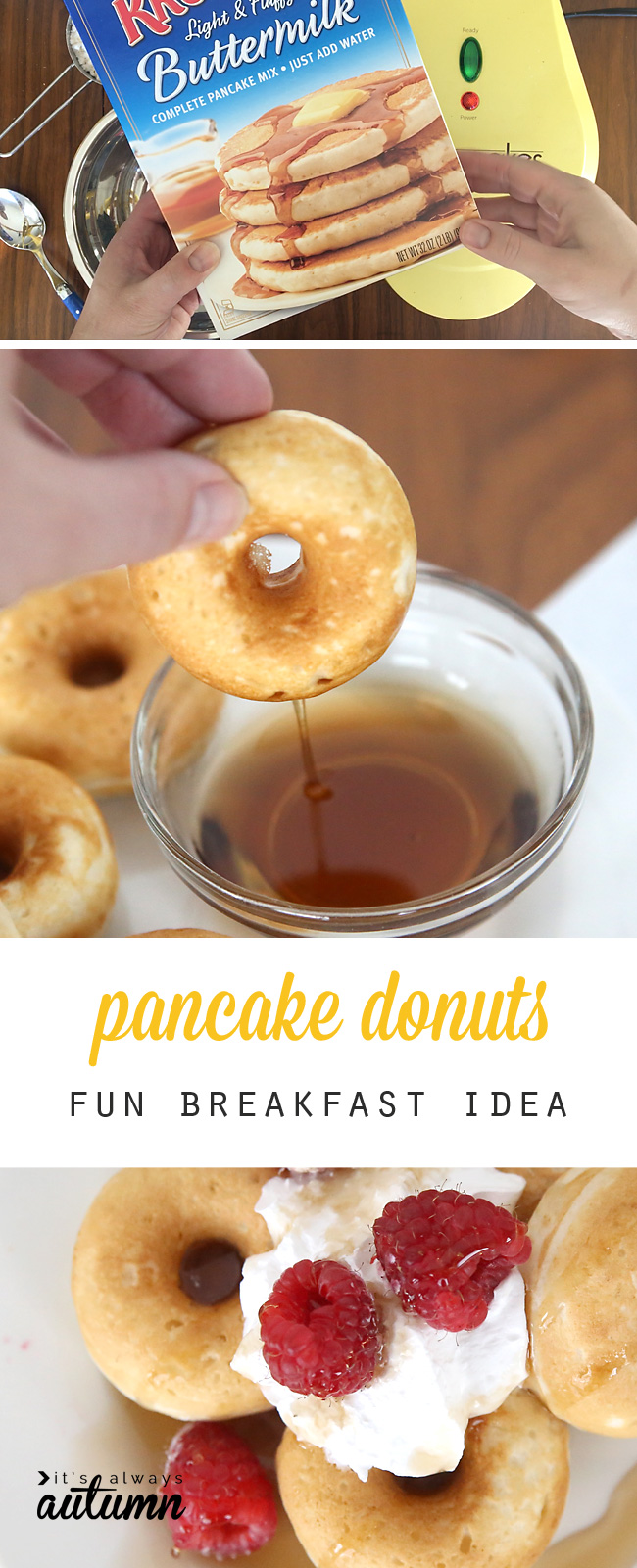 Pancake mix and donut maker; pancake donuts with syrup