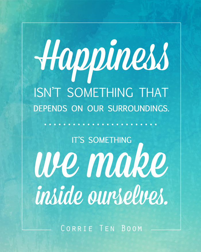 Gorgeous free printable - free art print for gallery walls, home decor, or a handmade gift. Corrie Ten Boom inspirational quote about happiness.