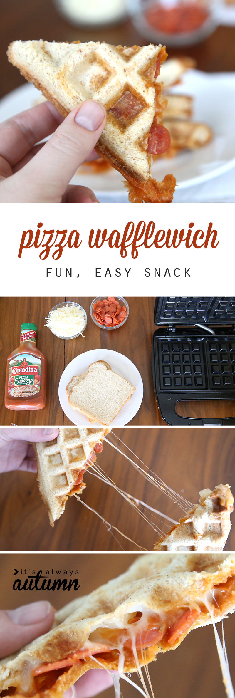 pizza wafflewich, made with bread and pizza ingredients in a waffle iron