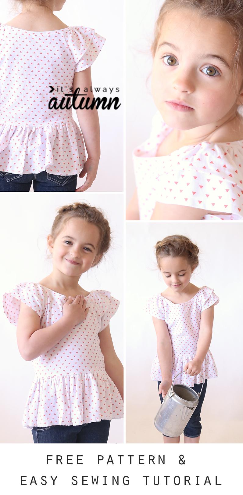 little girl wearing a polka dot peplum shirt with flutter sleeves
