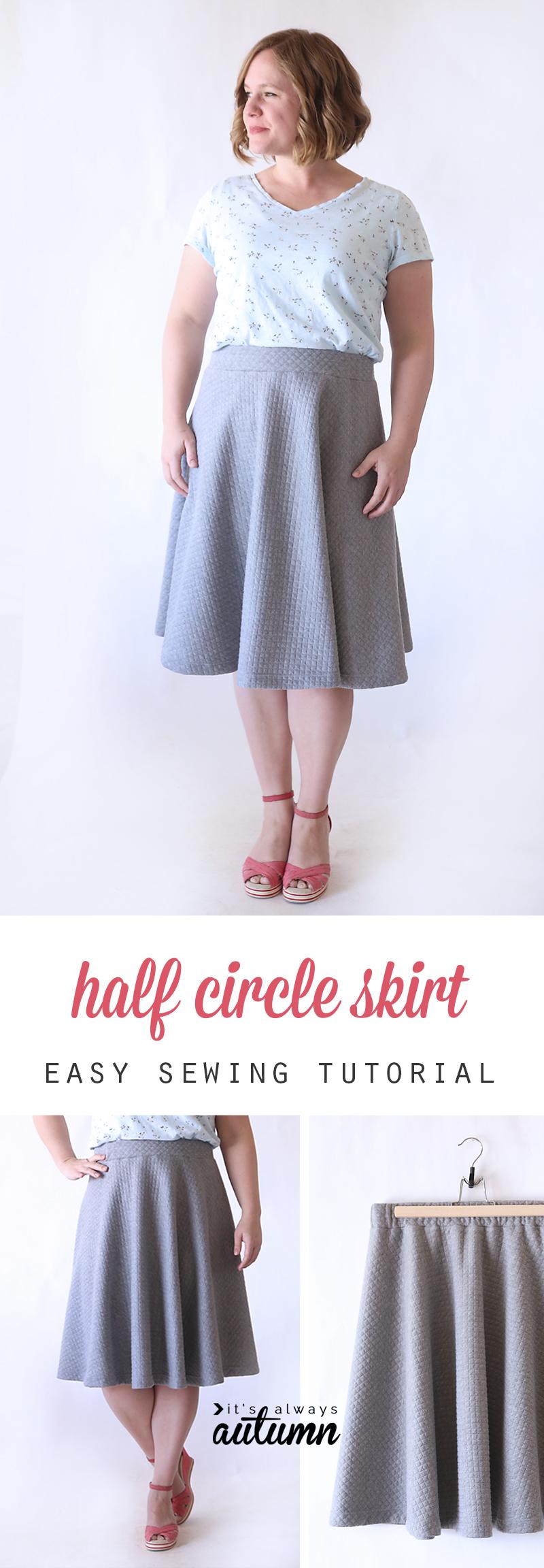 A woman wearing a half circle skirt
