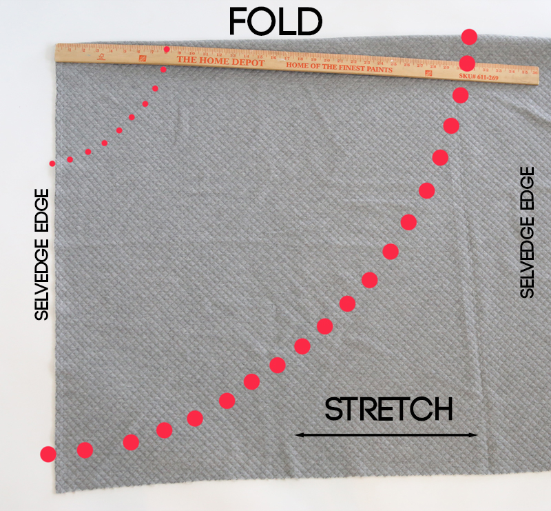 Diagram for cutting a half circle skirt pattern