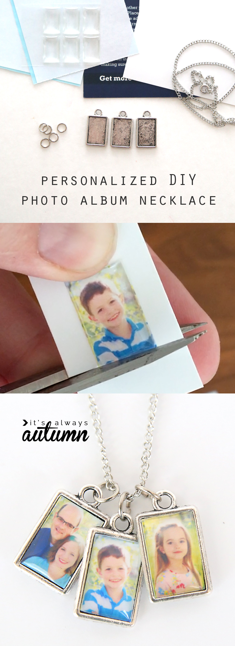 Steps for making a photo necklace