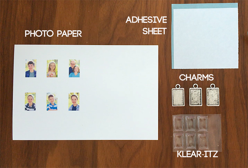 photo paper, adhesive sheet, charms, Klear-itz