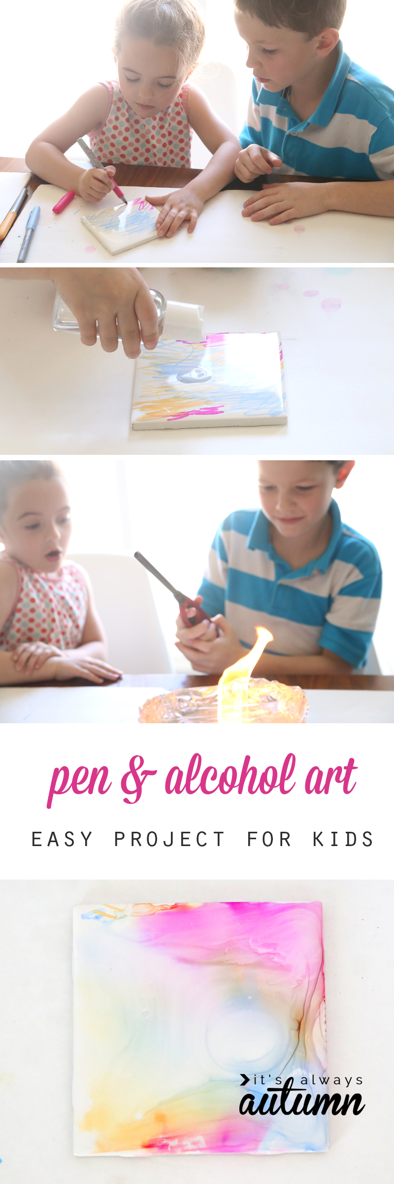 This gorgeous tile art is easy enough for kids to make with just pens, alcohol, tiles, and a lighter. Such a fun activity for kids, and the tiles make beautiful coasters for an easy, cheap handmade mother's day gift!