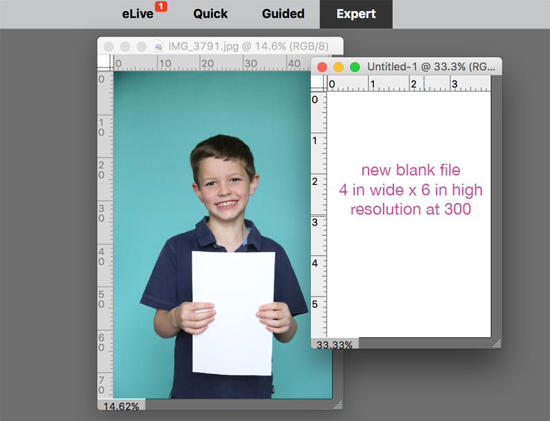 photo of a boy open in Photoshop Elements