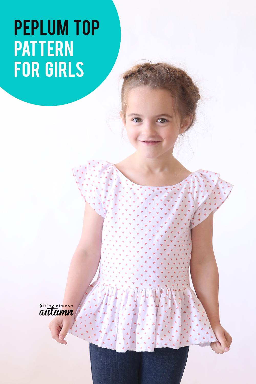 Cute peplum top sewing pattern for girls!