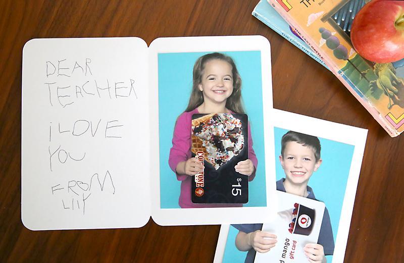 Photos of kids holding a gift card inside a card to a teacher