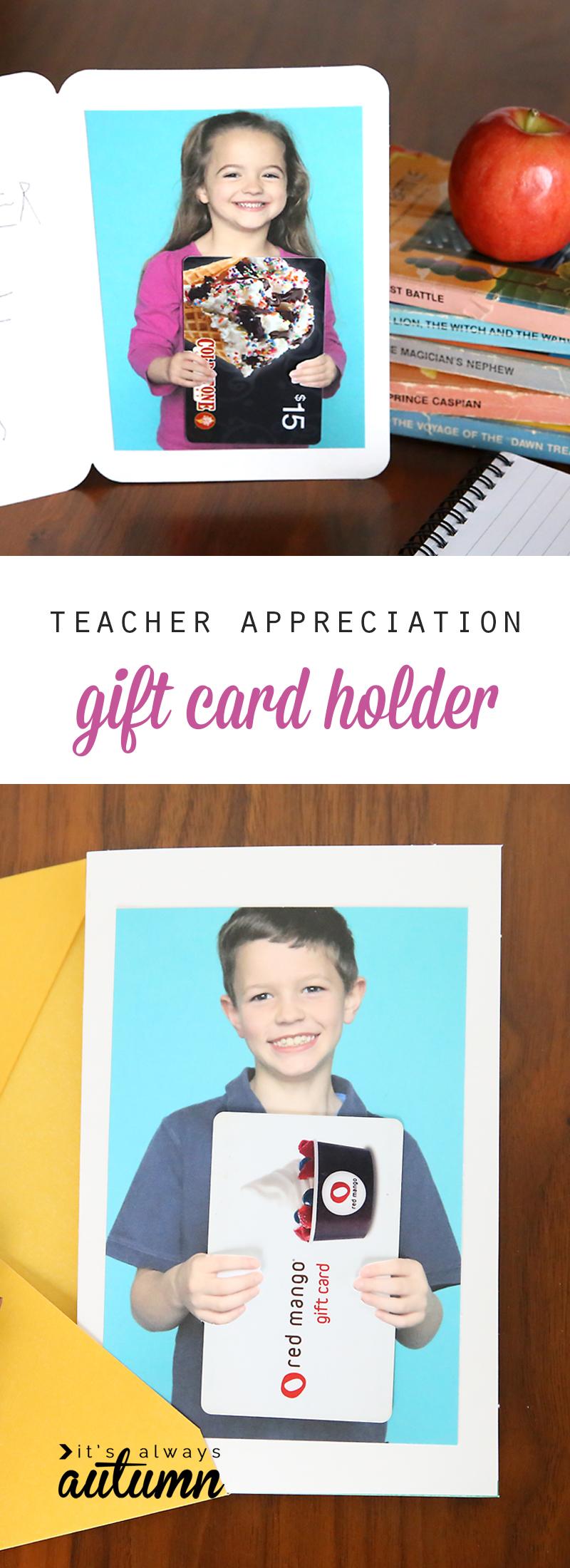 Teacher appreciation photo gift card holder