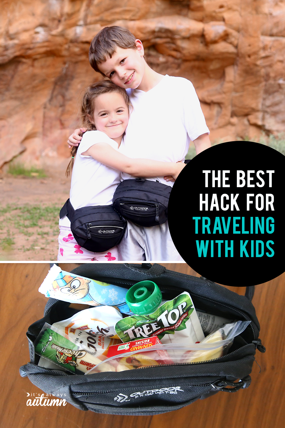 This is the single BEST HACK for traveling with kids! It will make your life so much easier, whether you're going on a road trip, to an amusement park, or just about anywhere else.