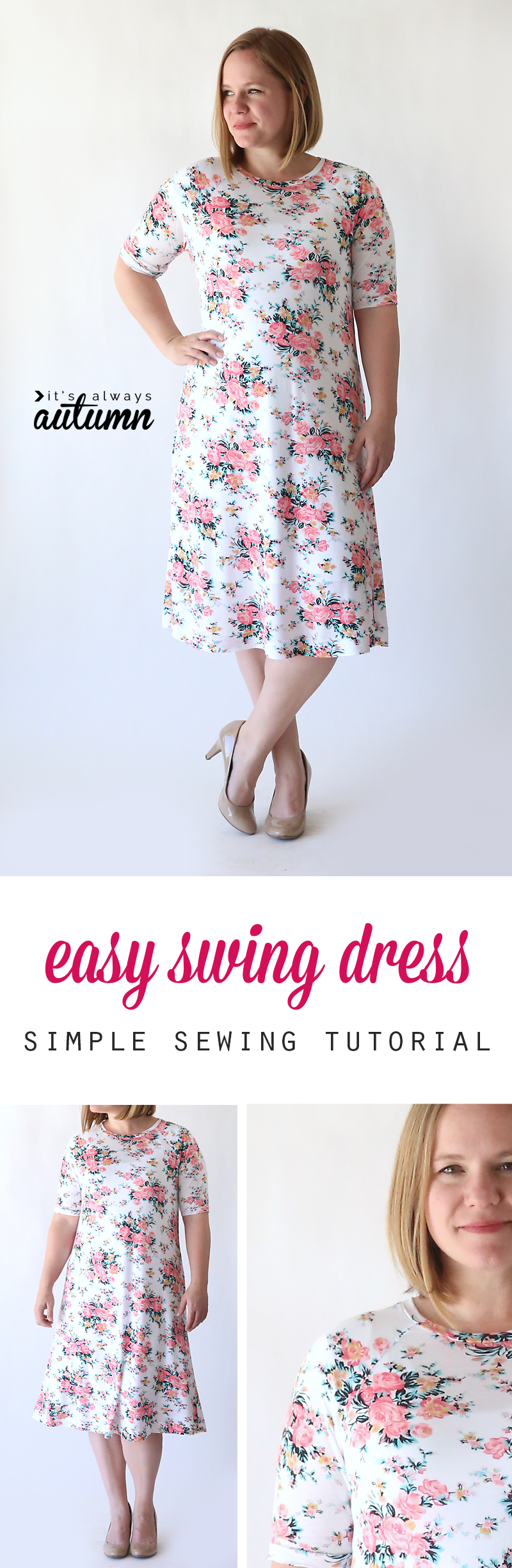 A girl in a floral swing dress made from a sewing tutorial