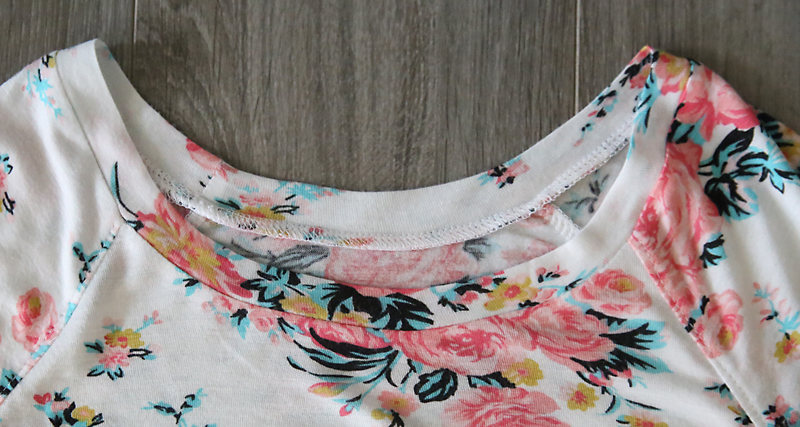 Finished neckline with binding inserted and pressed