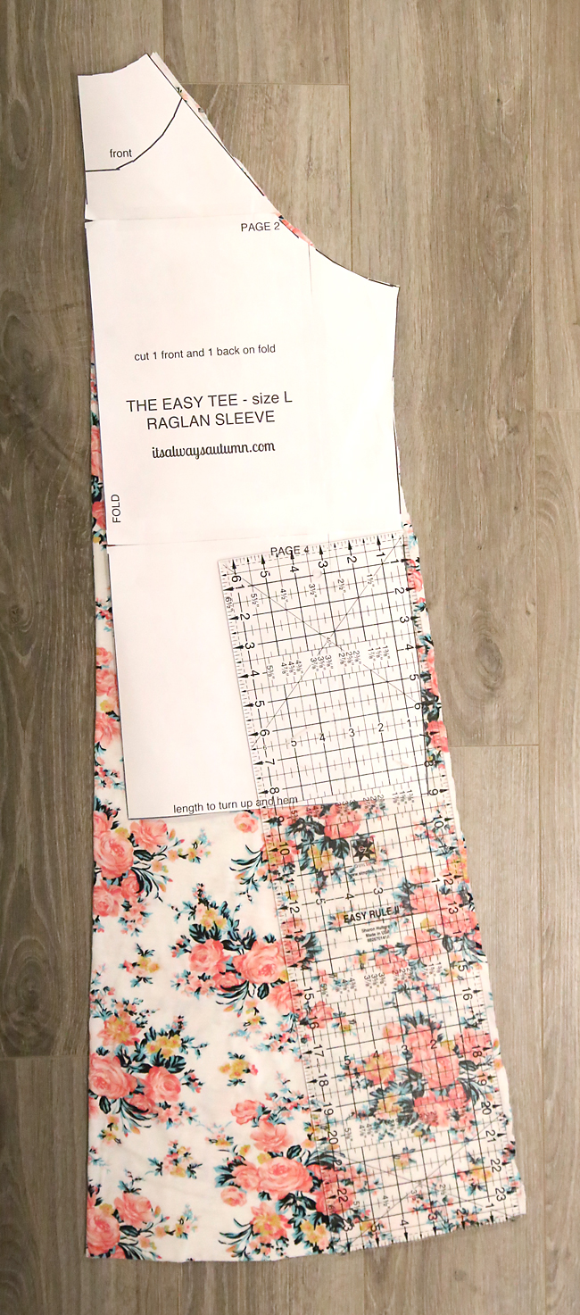 Using the easy tee sewing pattern to cut a dress pattern piece